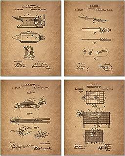 Blacksmith Patent Poster Prints - Set of 4 Photos - Vintage Decor - Anvil Forge Bellow & Tongs