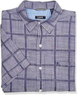 IZOD Men's Saltwater Short Sleeve Windowpane Button Down Shirt
