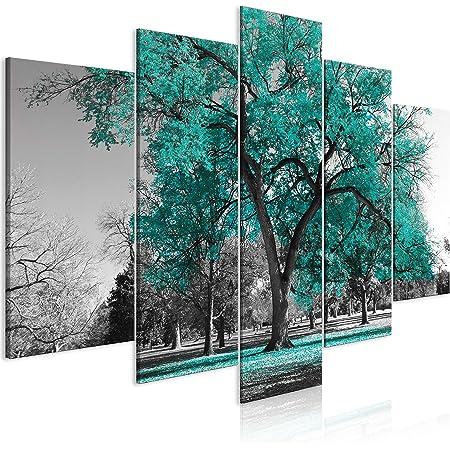 murando Impression sur Verre Acrylique Arbre 100x50 cm 5 pieces Imprimée Tableau Photo Image Pret a Accrocher Murale Moderne Décoration Arbre Nature noir blanc c-B-0445-k-p