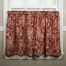 """Ellis Curtain Floating Leaves Tailored Tiers, 68"""" x 36"""", Red"""