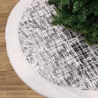 Valery Madelyn 48 inch Frozen Winter Silver White Christmas Tree Skirt with Shimmering Silver and Faux Fur, Themed with Christmas Ornaments (Not Included)