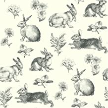 York Wallcoverings Bunny Toile Water-Activated Removable Wallpaper - Black/White | Spray with Water and Hang | Ultra Easy