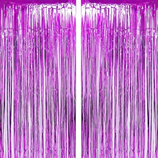 JUICY MOOM Purple Tinsel Foil Fringe Curtains Wedding Bachelorette Engagement Valentines Party Photo Backdrops First Baby Shower Birthday Decor Photo Booth Props Backdrops Decorations, 2pc