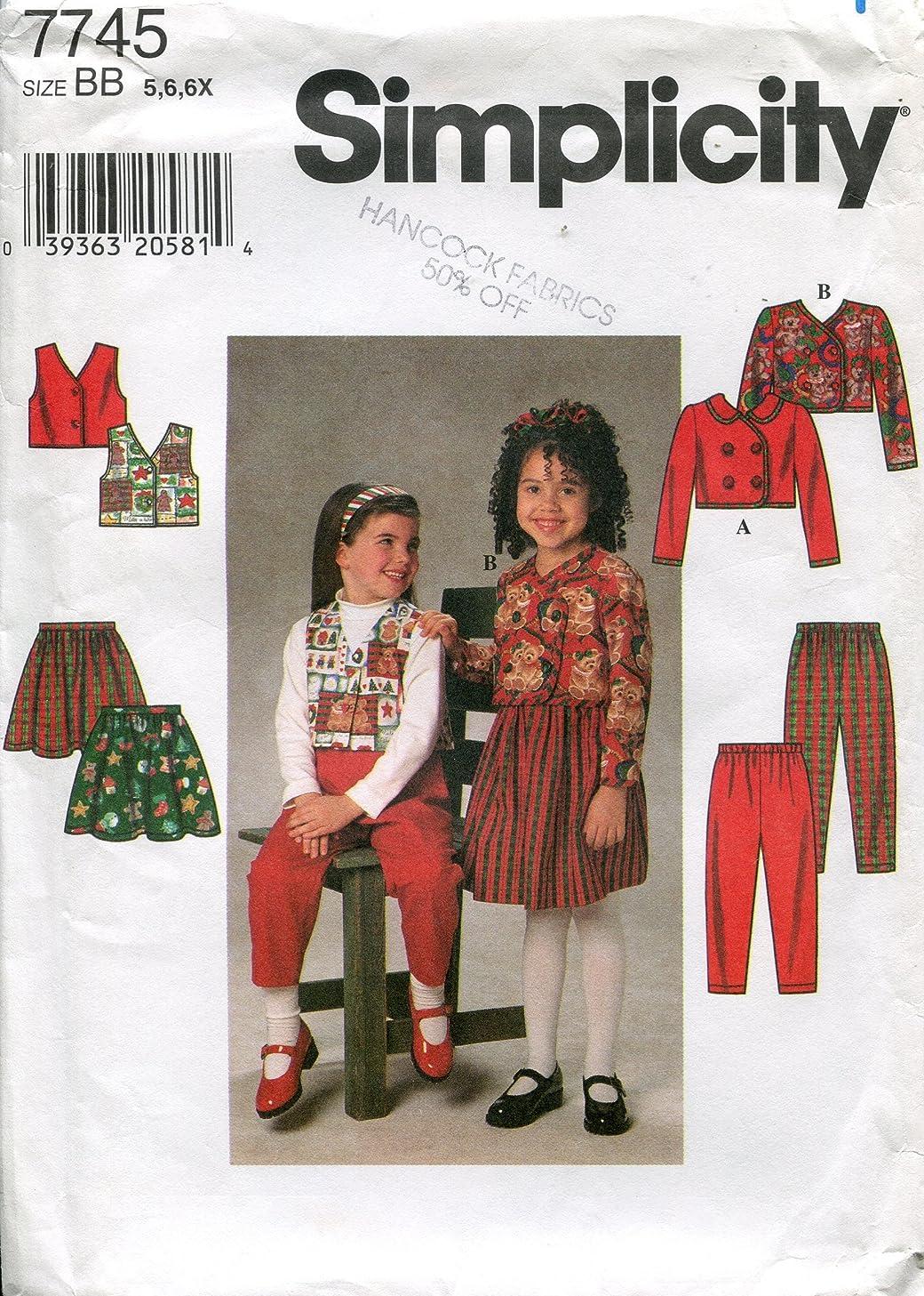 Simplicity Pattern 7745 Girl's Jacket, Vest, Skirt and Pants, Size BB (5-6-6X)
