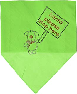 Mirage Pet Products Santa Please Stop Here Rhinestone Bandana, Large, Lime Green
