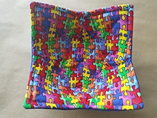 Autism Awareness Microwave Bowl Cozy, Reversible Microwave Potholder, Puzzle Piece Bowl Holder, Kitchen Linens, Teacher Gifts