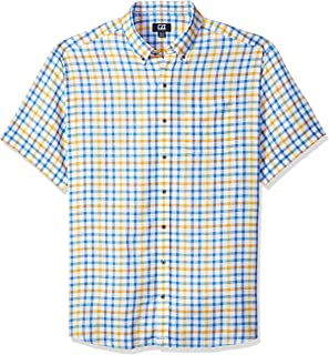 Cutter & Buck Men's Big and Tall Short Sleeve Abalone Check Shirt