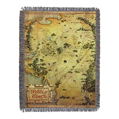 Warner Brothers The Hobbit, Middle Earth Woven Tapestry Throw Blanket, 48  x 60 , Multi Color