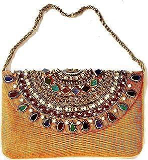 e64a336ebaf9d Amor Women s Beautiful Fashion Clutch Jewel Studded Jute Bag Purse Lady  Handbag