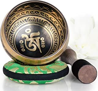 Silent Mind ~ Tibetan Singing Bowl Set ~ Balance & Harmony Design ~ With Dual Surface Mallet and Silk Cushion ~ Promotes Peace, Chakra Healing, and Mindfulness ~ Exquisite Gift