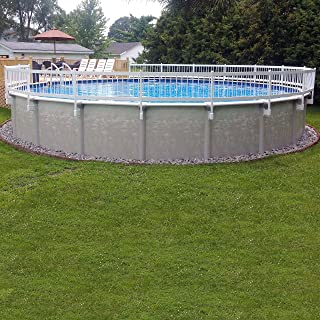Vinyl Works 24- Inch White Economy Resin Above-Ground Pool Fence Base Kit A - 8 Sections