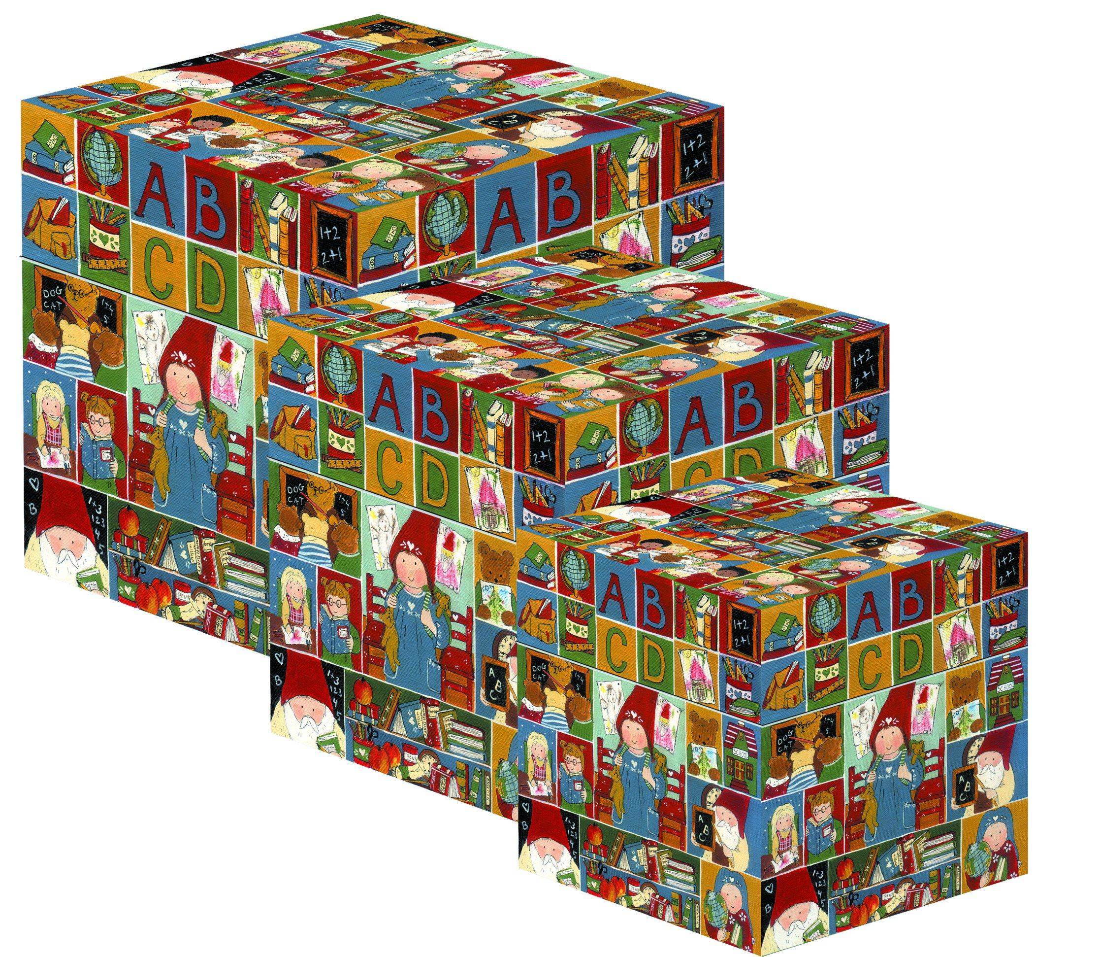 Gnomys Diaries Primer Día De Cole Set de Cajas, Cartón, Multicolor, 13x13x13 cm, 3 Unidades: Amazon.es: Hogar