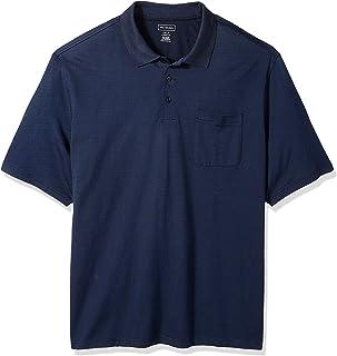Men's Big and Tall Short Sleeve Jacquard Stripe Polo Shirt