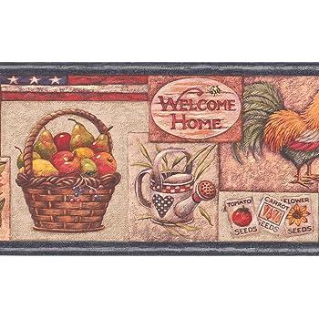 American Flag Rooster Fruit Basket Sunflower Watermelon Birdhouse Kitchen Wallpaper Border Retro Design Roll 15 X 7 Amazon Com