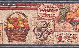 American Flag Rooster Fruit Basket Sunflower Watermelon Birdhouse Kitchen Wallpaper Border Retro Design, Roll 15' x 7''