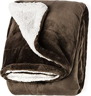 "Life Comfort Microfiber Plush Polyester 60""x70"" Large All Season Blanket for Bed or Couch Ultimate Sherpa Throw, Dark Brown"