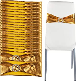 Juvale Gold Chair Sashes - 100-Pack Wedding Seat Bows, Rhinestone Design Chair Band, Banquet Decoration, Bridal Shower, Anniversary Party Supplies, 28 x 4.8 Inches