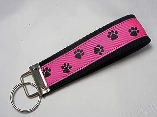 Paw Print Ribbon Wristlet Key Fob Keychain Hot Pink