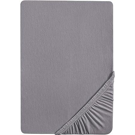 Castell 0077113 Drap-housse en jersey extensible (hauteur du matelas max.22 cm) 1x 140x200 cm - 160x200 cm, Gris argent
