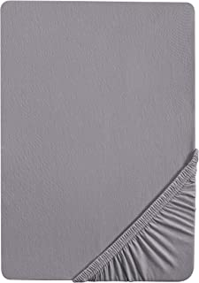 Castell 0077113 Drap housse en Jersey extensible (hauteur du matelas max.22 cm) 1x 140x200 cm > 160x200 cm, Gris argent