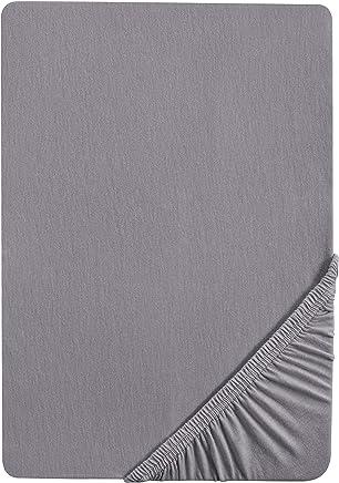Castell 77113 Jersey-Stretch Spannbetttuch, nach Öko-Tex Standard 100, ca. 140 x 200 cm bis 160 x 200 cm, silber/grau