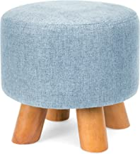 Best Choice Products Foam Padded Pouf Ottoman Footrest Stool w/Removable Linen Cover and Non-Skid Wooden Legs, Denim Blue