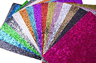 """WENTO Assorted Colors 15pcs 8"""" x 12"""" (20cm x 30cm) Sparkly chunky glitter fabric,glitter fabric sheets For Hair Bows making,Sewing DIY Crafts Glitter Fabric Convas on reverse"""