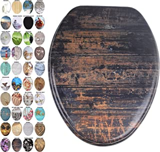 Sanilo Elongated Toilet Seat, Wide Choice of Slow Close Toilet Seats, Molded Wood, Strong Hinges (Vintage)