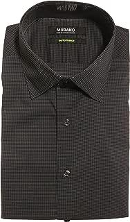 Slim Fit Spread Collar Performance Plaid Dress Shirt F75DM040 Black