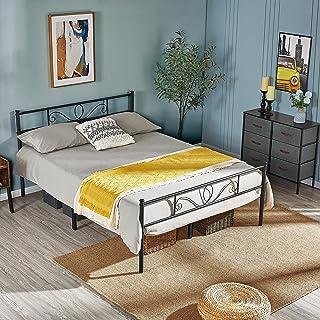 Yaheetech Cadre de lit Simple en Métal Noir 143 x 197 cm pour Petits Espaces Adultes Solide Montage Facile