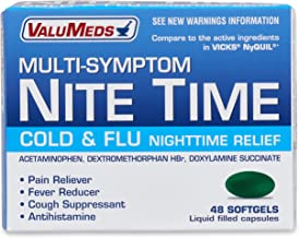 Sponsored Ad - ValuMeds Cough, Cold, and Nighttime Relief (48 Softgels) Helps Relieve Sore Throat, Fever, Headaches, Runny...