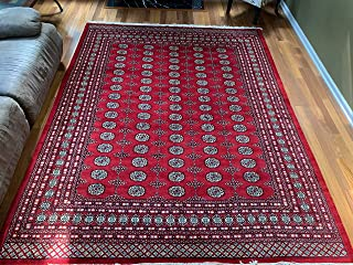 Red Hand Knotted | Red Bokhara Rug | Mori Gola Style-Elephant Feet | Pakistani Bokhara Rug | Wool Made | Stampa Rugs Living Room Big Rug (10'3'' x 8'3'')