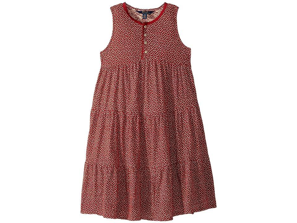 Polo Ralph Lauren Kids Floral Cotton Jersey Dress (Little Kids/Big Kids) (Red Multi) Girl