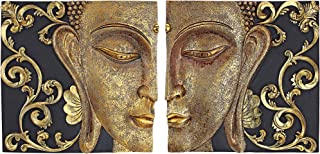Design Toscano Mirrored Nirvana Dual Buddha Asian Wall Sculptures, Two Tone Black & Gold