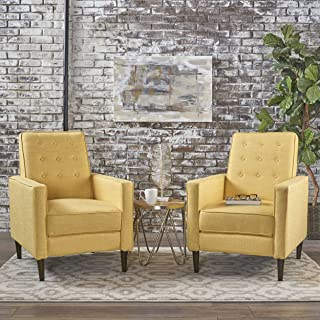 Christopher Knight Home Mason Mid-Century Modern Tuft Back Recliner (Qty of 2, Fabric/Muted Yellow), Set of 2