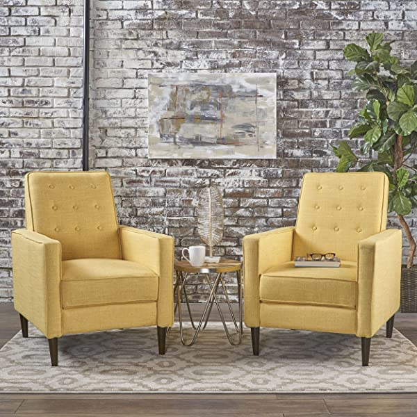 Christopher Knight Home 301378 Mason Mid Century Modern Tuft Back Recliner Qty Of 2 Fabric Muted Yellow Set Of 2