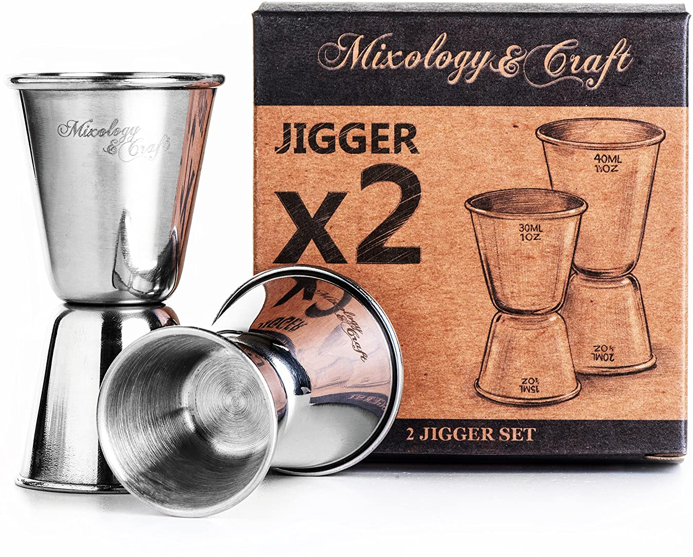 Double Jigger Set by Mixology&Craft - Professional Grade Bar Tool Accessories, Two Stainless Steel Cocktail Jiggers Holds ? oz to 1? oz - Measure Liquor with Confidence Like a Professional Bartender