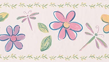 Yellow Red Purple Flowers Dragonfly Lady Bugs Blush Pink Wallpaper Border for Kids, Roll 15' x 7''