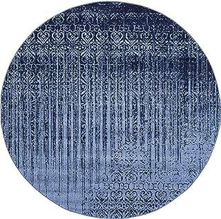 Unique Loom Del Mar Collection Contemporary Transitional Blue Round Rug (8' 0 x 8' 0)