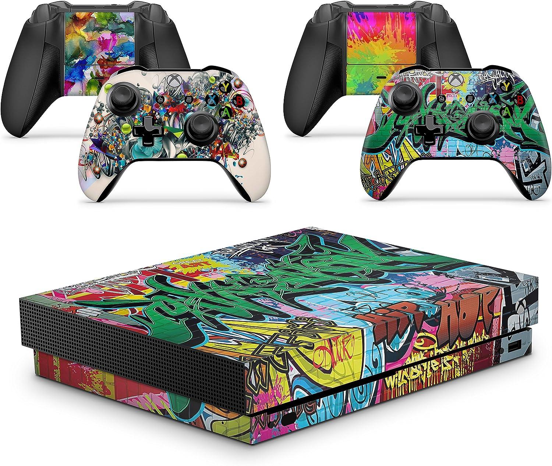 giZmoZ n gadgetZ Graffiti Skins for Xbox ONE X XBX Console Decal Vinal Sticker + 2 Controller Set