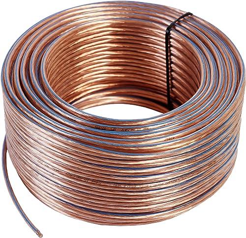 Câble de haut-parleur Misterhifi de 50 m, 2 x 2,5 mm², fil de cuivre : 2 x 78 x 0,2 mm, isolé transparent, câble en c...