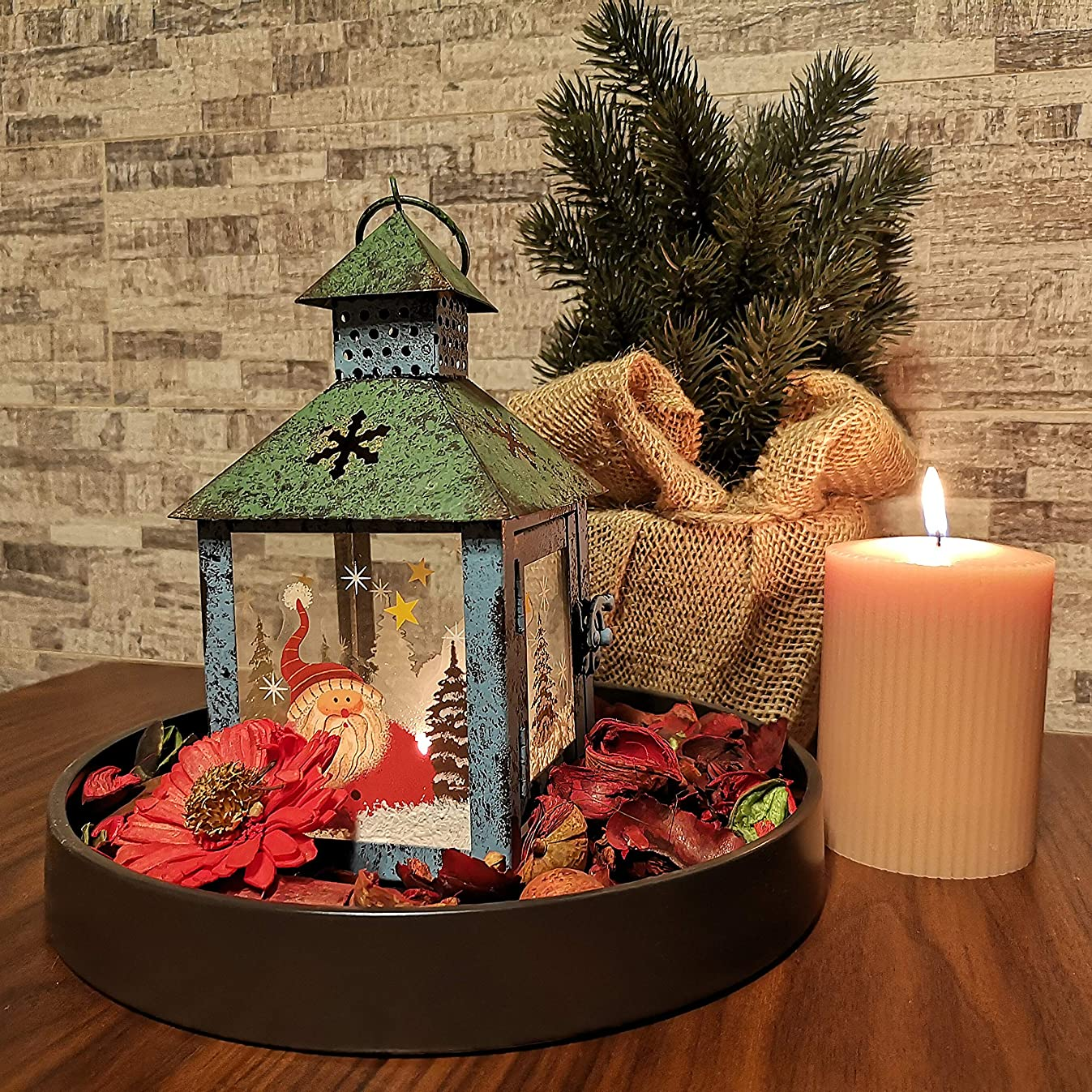 Christmas Candle Lantern Decoration - Santa Decorative Candle Holder, Rustic,Green, Hand Painted Metal and Glass - Table Centerpiece or Hanging Lantern Holder, Christmas Home Decorations