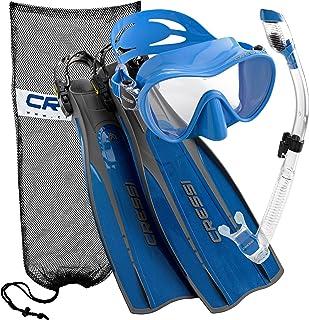 Cressi Pro Light Open Heel Diving Fin Frameless Mask Snorkel Set