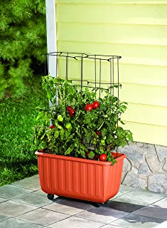 Plow & Hearth Rolling Self-Watering Polypropylene Tomato Planter and Steel Tomato Tower Support