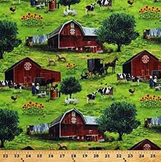 Cotton Scenic Farm Barns Animals Cows Amish Country Paradise Green Cotton Fabric Print by The Yard (D758.36)