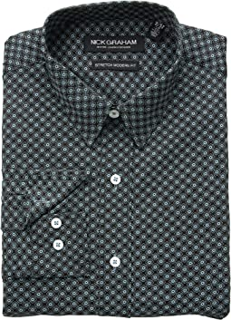 Medallion Print CVC Stretch Dress Shirt