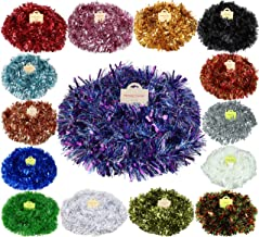 Christmas Concepts® 4 Metre Chunky/Fine Christmas Tinsel - Christmas Decoration Tinsel (Purple/Blue/Silver) …