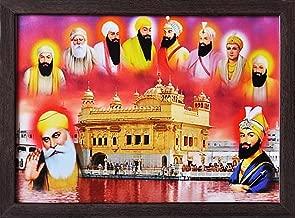 Handicraft Store Guru nanak dev ji and Guru Gobind Singh ji Giving Blessings with Other Eight guru Giving Blessings, Poster Print with framing for Home/Office/Gift Purpose