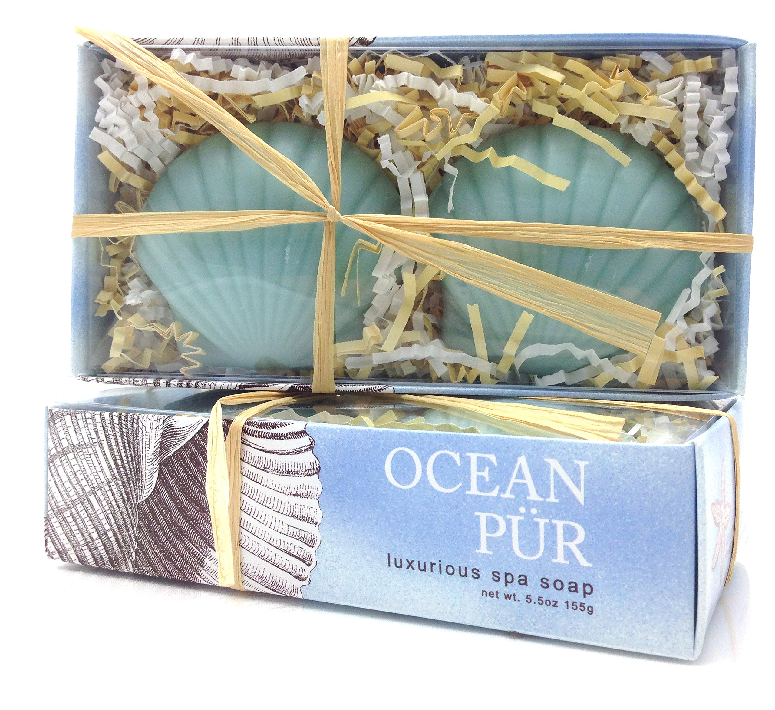 Ocean Pur Luxurious French-Milled Sea Shell Spa Soap Gift Set by Greenwich Bay Trading Company