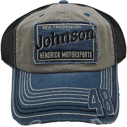 84b3b7a9 Jimmie Johnson #48 Classic Retro Distressed Trucker Hat